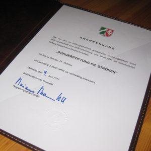 Die offizielle Urkunde der Stiftung!