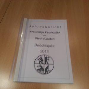 66 Seiten Jahresbericht 2013 der Rahdener Feuerwehr