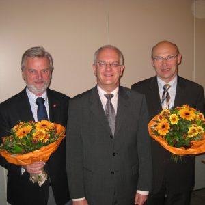 Bürgermeister-Trio: 2. Stellvertreter Günter Meyer, Bürgermeister Bernd Hachmann, 1. Stellvertreter Wilhelm Kopmann