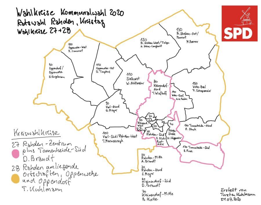 Karte Wahlkreise 27 und 28