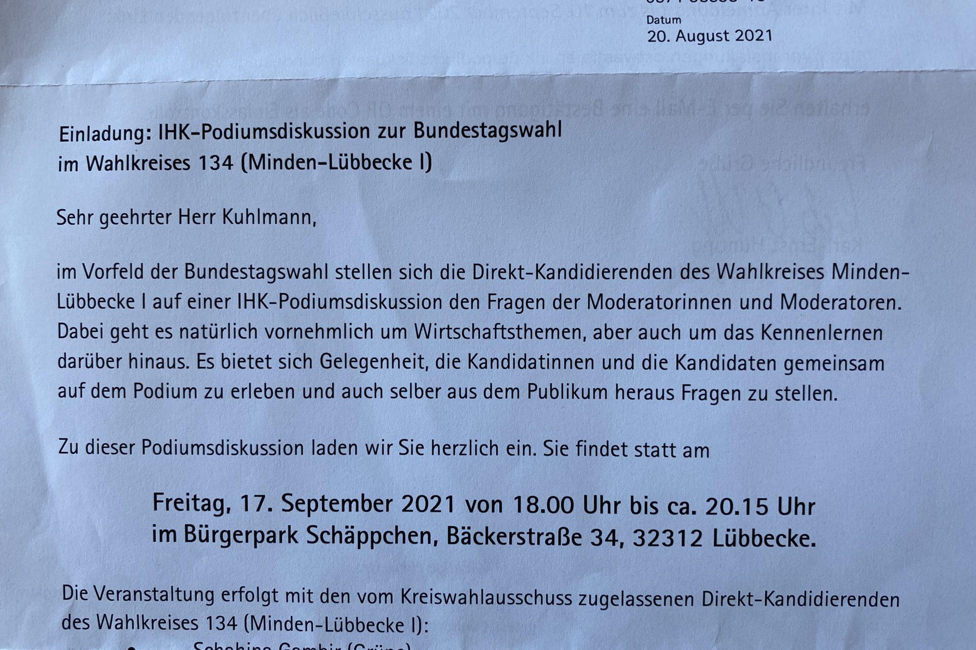 IHK-Podiumsdiskussion zur Bundestagswahl